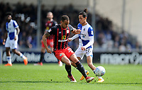 Bristol Rovers' Kyle Bennett is tackled by Blackburn Rovers' Elliott Bennett<br /> <br /> Photographer Ashley Crowden/CameraSport<br /> <br /> The EFL Sky Bet League One - Bristol Rovers v Blackburn Rovers - Saturday 14th April 2018 - Memorial Stadium - Bristol<br /> <br /> World Copyright &copy; 2018 CameraSport. All rights reserved. 43 Linden Ave. Countesthorpe. Leicester. England. LE8 5PG - Tel: +44 (0) 116 277 4147 - admin@camerasport.com - www.camerasport.com