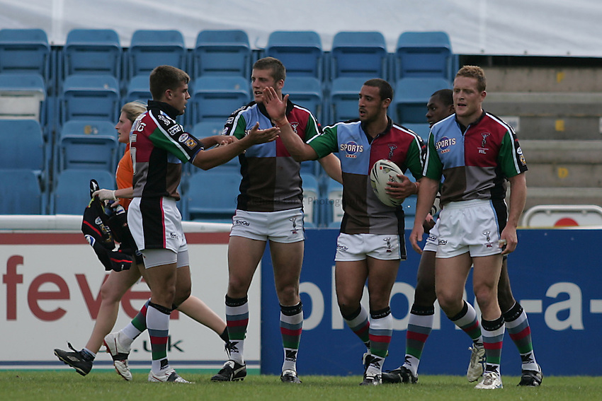 Photo: Lee Earle..Harlequins RL v Wigan Warriors. Engage Super League 2007. 02/06/2007..Paul Sykes is congratulated after scoring the first try for Harlequins.
