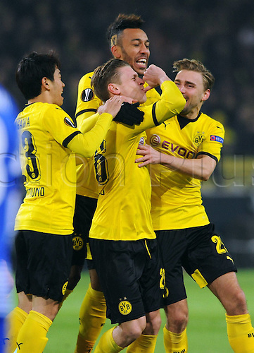 18.02.2016. Dortmund, Germany.  UEFA Europa League match at the Signal Iduna Park. Borussia Dortmund versus FC Porto. Lukasz Piszczek Borussia celebrates after his goalfor 1-0 with Shinji Kagawa Borussia Marcel Schmelzer Borussia Mats Hummels Borussia Marco Reus Borussia and Pierre Emerick Aubameyang