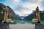 Lake Louise is a glacial lake within Banff National Park in Alberta, Canada. Lake Louise is named after the Princess Louise Caroline Alberta (1848–1939), the fourth daughter of Queen Victoria.<br /> The emerald color of the water comes from rock flour carried into the lake by melt-water from the glaciers that overlook the lake. <br /> Fairmont's Chateau Lake Louise, one of Canada's grand railway hotels, is located on Lake Louise's eastern shore. It is a luxury resort hotel built in the early decades of the 20th century by the Canadian Pacific Railway.