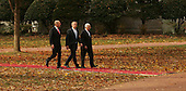 President George W. Bush  with Israeli Prime Minister Ehud Olmert on left and Palestinian Authority President Mahmoud Abbas on right, walk to the joint statement session at the .Middle East Peace Conference  at the U. S Naval Academy in Annapolis, Maryland on November 27, 2007.Agency pool photo by Dennis Brack/Black Star