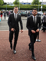 Pictured: Alexander Gogic (L)  arrives Wednesday 20 May 2015<br /> Re: Swansea City FC Awards Dinner at the Liberty Stadium, south Wales, UK