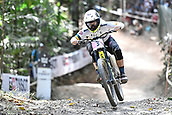 10th September 2017, Smithfield Forest, Cairns, Australia; UCI Mountain Bike World Championships; Tracey Hannah (AUS) riding for Polygon UR on her way to third place in the elite womens downhill race;