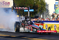 Nov 7, 2013; Pomona, CA, USA; NHRA top fuel dragster driver Steve Torrence during qualifying for the Auto Club Finals at Auto Club Raceway at Pomona. Mandatory Credit: Mark J. Rebilas-