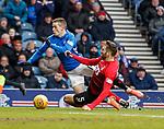 16.03.2019 Rangers v Kilmarnock: Kirk Broadfoot takes down Ryan Kent