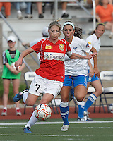 Western New York midfielder McCall Zerboni (7) controls the ball at midfield as Boston Breakers defender Bianca D'Agostino (19) closes. In a Women's Premier Soccer League Elite (WPSL) match, the Boston Breakers defeated Western New York Flash, 3-2, at Dilboy Stadium on May 26, 2012.