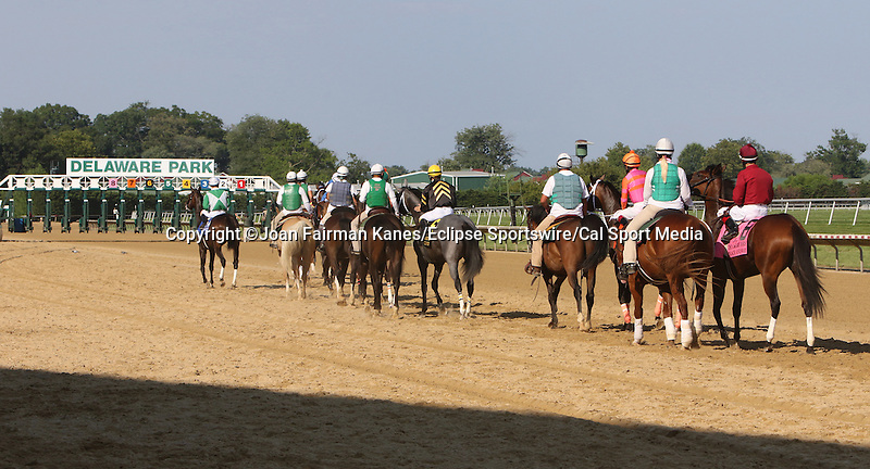 July 11, 2015: The Delaware Oaks contenders take to the track for the post parade.Calamity Kate, Edgar Prado up, wins the Grade III Delaware Oaks, one and one sixteenth miles for 3 year old fillies at Delaware Park in Stanton DE. Trainer is Kelly Breen. Joan Fairman Kanes/ESW/CSM