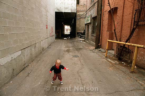 Noah Nelson in the alley behind the Tribune.<br />