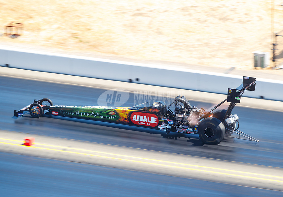 Jul 30, 2017; Sonoma, CA, USA; NHRA top fuel driver Terry McMillen during the Sonoma Nationals at Sonoma Raceway. Mandatory Credit: Mark J. Rebilas-USA TODAY Sports