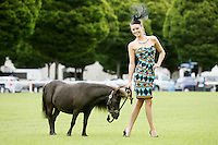6/7/2010. Ladies Day. Model Diana Donnelly is pictured wearing a number of Ladies Day outfits from a selection at Arnotts to launch the Blossom Hill Ladies Day at the Fáilte Ireland Dublin Horse Show on August 5th. Diana is joined by miniature falabella pony (28 inches tall) Dixie from Airfield Trust Picture James Horan/Collins Photos