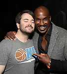 """Alex Brightman and Alan H. Green during the Broadway Opening Night Actors' Equity Legacy Robe Ceremony honoring Jill Abramovitz for """"Beetlejuice"""" at The Wintergarden on April 25, 2019  in New York City."""