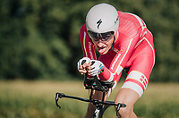 Mikkel Bjerg (DEN) on his way to a 2nd consecutive win<br /> <br /> MEN UNDER 23 INDIVIDUAL TIME TRIAL<br /> Hall-Wattens to Innsbruck: 27.8 km<br /> <br /> UCI 2018 Road World Championships<br /> Innsbruck - Tirol / Austria