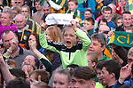 18-1-2017: Millie Horan cheers the Kerry team on arrival at Fitzgerald Stadium Killarney to receive a hero's welcome at the homecoming on Monday evening.<br /> Photo: Don MacMonagle