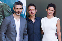 Leonardo Sbaraglia, Rodrigo Grande and Clara Lago during the photocall of  Al final del tunel at Warner Bros Espana in Madrid. August 8, 2016. (ALTERPHOTOS/Rodrigo Jimenez) /NORTEPHOTO.COM