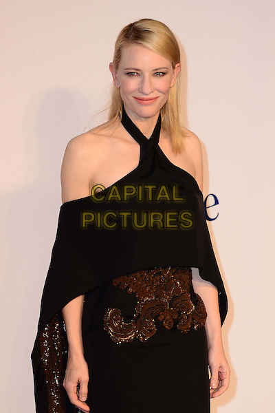 Cate Blanchett<br /> UK Premiere of 'Blue Jasmine' at the Odeon West End, Leicester Square. London, England.<br /> 17th September 2013<br /> half length black dress off the shoulder halterneck cape embroidered gold bronze <br /> CAP/BF<br /> &copy;Bob Fidgeon/Capital Pictures