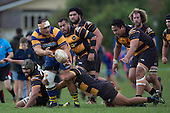 Siua Pole gets the ball away as he is tackled by Liam Daniela. Counties Manukau Premier Club Rugby game between Patumahoe & Bombay, played at Patumahoe on Saturday June 18th 2016. Patumahoe won the game 27 - 15 after leading 9 - 3 at halftime. Photo by Richard Spranger.