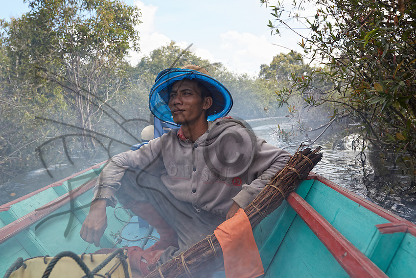 Portrait of Suriadi, 29 years old, member of the association APDS and owner of nearly three hundred honey boards. In 2014, the swarms of 123 tikungs produced 250 kilos of honey.///Portrait de Suriadi, 29 ans, membre de l'association APDS et propriétaire de près de trois cents planches à miel. En 2014, les essaims de cent vingt trois tikung ont  produit 250 kilos de miel.