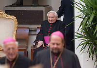 Georg Ratzinger (brother) at the honorary evening for Pope Benedict XVI. for his 85th Birthday in the courtyard of the papal summer residence at Castel Gandolfo in Italy, with costumes clubs from all over Bavaria. Castel Gandolfo, Italy, 03.08.2012...Credit: Nickels/face to face / Mediapunchinc  - ***online only for weekly magazines**** /NortePhoto.com<br />