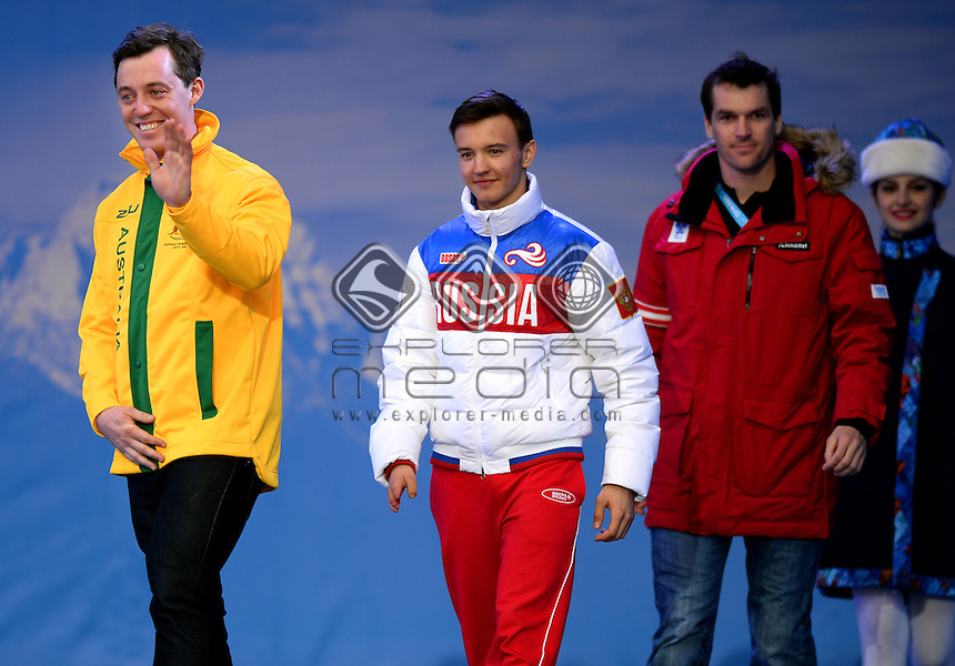 Men's Standing Super Combined presentation (L-R)<br /> Toby Kane (AUS) bronze<br /> Alexey Bugaev (RUS) gold<br /> Matthias Lanzinger (AUT) silver<br /> Australian Paralympic Team / Day 8<br /> Rosa Khutor Alpine Center<br /> Paralympics - 2014 Sochi Russia Winter Games<br /> Saturday March 14th 2014<br /> &copy; Sport the library / Jeff Crow