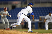 Dunedin Blue Jays pitcher Alberto Tirado (46) follows through on a pitch during a game against the Clearwater Threshers on April 10, 2015 at Florida Auto Exchange Stadium in Dunedin, Florida.  Clearwater defeated Dunedin 2-0.  (Mike Janes/Four Seam Images)