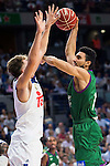 Real Madrid's player Luka Doncic and Unicaja Malaga's player Dani Diez during match of Liga Endesa at Barclaycard Center in Madrid. September 30, Spain. 2016. (ALTERPHOTOS/BorjaB.Hojas)