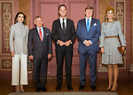 21.03.2018; The Hague, Netherlands: QUEEN RANIA, QUEEN MAXIMA KING ABDULLAH AND KING WILLEM-ALEXANDER <br /> call on the Prime Minister Mark Rutte.<br /> King Abdullah II and Queen Rania Al Abdullah of Jordan are on the second day of their official visit to the Netherlands<br /> Mandatory Photo Credit: &copy;Royal Hashemite Court/NEWSPIX INTERNATIONAL<br /> <br /> IMMEDIATE CONFIRMATION OF USAGE REQUIRED:<br /> Newspix International, 31 Chinnery Hill, Bishop's Stortford, ENGLAND CM23 3PS<br /> Tel:+441279 324672  ; Fax: +441279656877<br /> Mobile:  0777568 1153<br /> e-mail: info@newspixinternational.co.uk<br /> &ldquo;All Fees Payable To Newspix International&rdquo;