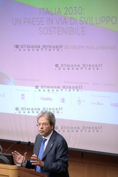 Roma, 7 Giugno 2017<br /> Paolo Gentiloni interviene all'evento conclusivo del Festival dello Sviluppo Sostenibile &ldquo;Italia 2030: un Paese in via di sviluppo sostenibile&rdquo; alla Camera dei Deputati