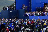 The caddies start throwing there shoes and caps into the crowd during the Sunday Singles Matches of the Ryder Cup at Gleneagles Golf Club on Sunday 28th September 2014.<br /> Picture:  Thos Caffrey / www.golffile.ie