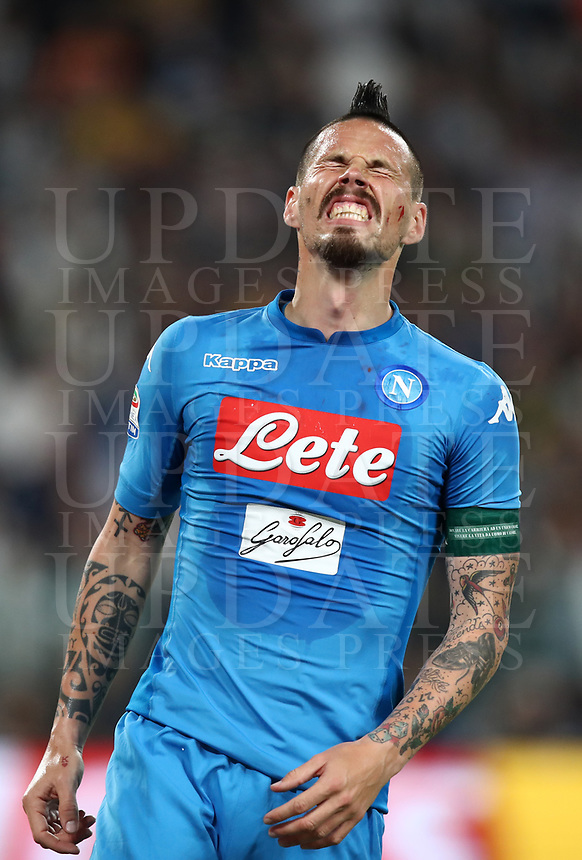 Calcio, Serie A: Juventus - Napoli, Torino, Allianz Stadium, 22 aprile, 2018.<br /> Napoli's captain Marek Hamsik reacts during the Italian Serie A football match between Juventus and Napoli at Torino's Allianz stadium, April 22, 2018.<br /> UPDATE IMAGES PRESS/Isabella Bonotto