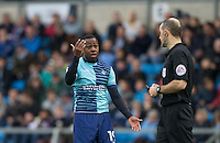 Myles Weston of Wycombe Wanderers is booked by the Referee before being sent off during the Sky Bet League 2 match between Wycombe Wanderers and Barnet at Adams Park, High Wycombe, England on 22 October 2016. Photo by Andy Rowland.