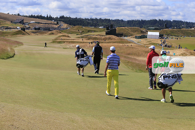 Lee WESTWOOD, Paul CASEY (ENG) and Billy HORSCHEL (USA) walk off the 6th tee during Friday's Round 2 of the 2015 U.S. Open 115th National Championship held at Chambers Bay, Seattle, Washington, USA. 6/19/2015.<br /> Picture: Golffile | Eoin Clarke<br /> <br /> <br /> <br /> <br /> All photo usage must carry mandatory copyright credit (&copy; Golffile | Eoin Clarke)