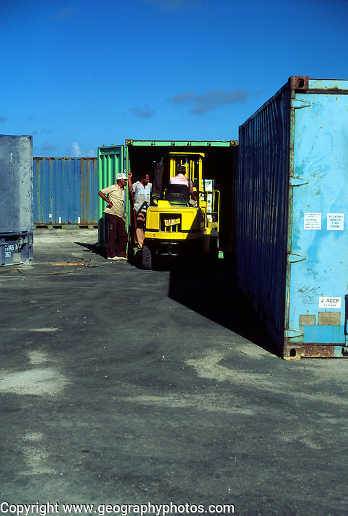 Containers at Creek Dock, Cayman Brac, Cayman Islands, British West Indies,