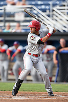 Auburn Doubledays first baseman Jose Marmolejos-Diaz (14) at bat during a game against the Batavia Muckdogs on June 16, 2014 at Dwyer Stadium in Batavia, New York.  Batavia defeated Auburn 4-3.  (Mike Janes/Four Seam Images)