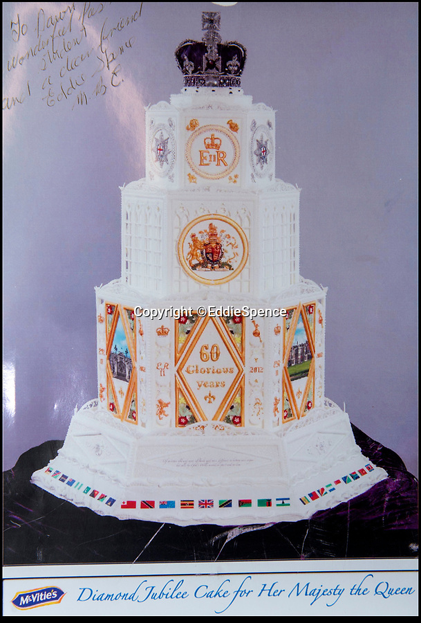 BNPS.co.uk (01202 558833)Pic: EddieSpence/BNPS<br /> <br /> Eddie's created this cake for the Queen's Diamond Jubilee in 2013<br /> <br /> Queens cake maker finally hangs up his piping bag...<br /> <br /> Royal cake maker Eddie Spence(85) has finally had to retire after an amazing 71 year career making the spectacular cakes for many Royal occasions from weddings, anniversaries and jubilee's.<br /> <br /> Eddie Spence's renowned icing skills earned him the chance to decorate numerous cakes for major Royal occasions, including the Queen's Diamond Jubilee and Charles and Diana's wedding.<br /> <br /> He also created the cake for the Queen and Prince Philip's golden wedding anniversary - 50 years after he beat the eggs for the cake used for their wedding in 1947 as an apprentice. <br /> <br /> In 2000 Eddie was awarded an MBE in the Queen's New Year's Honours for services to sugar craft.<br /> <br /> Now aged 85, Eddie, from Bournemouth, has finally called it a day.