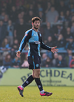 Joe Jacobson of Wycombe Wanderers during the Sky Bet League 2 match between Wycombe Wanderers and Stevenage at Adams Park, High Wycombe, England on 12 March 2016. Photo by Andy Rowland/PRiME Media Images.
