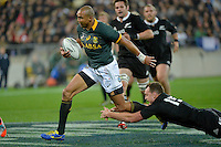 Cornal Hendricks in action during the Rugby Championship - All Blacks v Springboks at Westpac Stadium, Wellington, New Zealand on Saturday 13 September 2014.<br /> Photo by Masanori Udagawa.<br /> www.photowellington.photoshelter.com