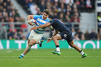 Facundo Isa of Argentina forces his way past Mike Brown of England during the Old Mutual Wealth Series match between England and Argentina at Twickenham Stadium on Saturday 26th November 2016 (Photo by Rob Munro)