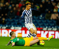 25th February 2020; The Hawthorns, West Bromwich, West Midlands, England; English Championship Football, West Bromwich Albion versus Preston North End; Callum Robinson of West Bromwich Albion is slide tackled by Patrick Bauer of Preston North End