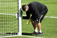 18th July 2020; Craven Cottage, London, England; English Championship Football, Fulham versus Sheffield Wednesday; Goal posts are disinfected at half time