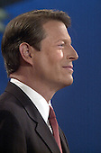 Democratic Vice President Al Gore smiles during the first presidential debate with Republican candidate Texas Governor George W. Bush October 3, 2000 in Boston Massachusetts. Gore and Bush will meet twice more before the November election.<br /> Credit: Darren McCollester / Pool via CNP