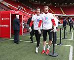 Simon Moore and Jake Eastwood of Sheffield Utd wear Weston Park Charity t-shirts during the championship match at the Bramall Lane Stadium, Sheffield. Picture date 14th April 2018. Picture credit should read: Simon Bellis/Sportimage