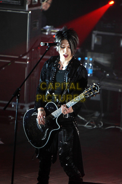 Miyavi.Concert in Moscow, Russia..September 19th, 2009.on stage in concert live gig performance performing music full length black leather jacket  guitar .CAP/PER/SB.© SB/Persona/CapitalPictures