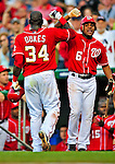 6 June 2009: Washington Nationals' second baseman Anderson Hernandez greets Elijah Dukes after Dukes hit a solo homer in the 4th inning against the New York Mets at Nationals Park in Washington, DC. The Nationals defeated the Mets 7-1, with pitcher John Lannan going the distance for his first career complete-game. Mandatory Credit: Ed Wolfstein Photo