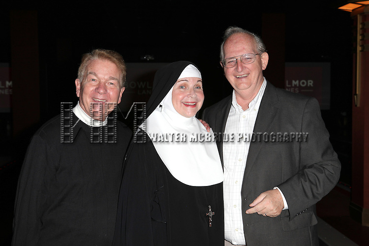 Dan Goggin, Cindy Williams, Jim Murtha performing a preview of 'Nunset Boulevard: The Nunsense Hollywood Bowl Show' at the Bowlmor Lanes Thursday, Sept. 27, 2012 in Times Square, New York.