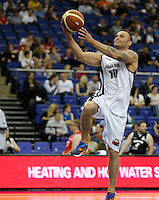 Retired Athlete Andy Turner warms up during Hoops Aid 2015 Celebrity AllStars Basketball Match at the o2 Arena, London, England on 10 May 2015. Photo by Andy Rowland.