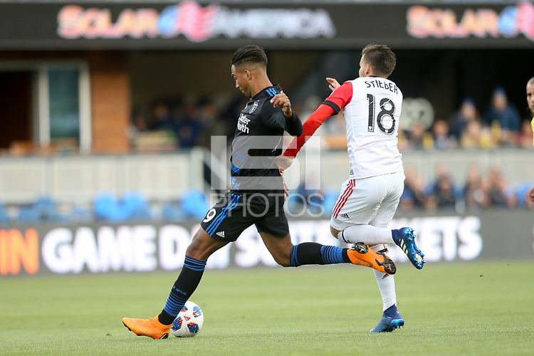 San Jose, CA - Saturday May 19, 2018: Danny Hoesen, Zoltán Stieber during a Major League Soccer (MLS) match between the San Jose Earthquakes and D.C. United at Avaya Stadium.