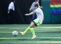 Seattle, WA - Saturday July 23, 2016: Manon Melis prior to a regular season National Women's Soccer League (NWSL) match between the Seattle Reign FC and the Orlando Pride at Memorial Stadium.