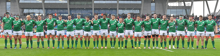 The Irish team line up before the game<br /> <br /> Photographer Dave Howarth/CameraSport<br /> <br /> International Rugby Union - U20 World Rugby Championships 2016 - Pool A - New Zealand U20 v Ireland U20 - Match 10 - Saturday 11th June 2016 - Manchester City Academy Stadium - Manchester<br /> <br /> World Copyright &copy; 2016 CameraSport. All rights reserved. 43 Linden Ave. Countesthorpe. Leicester. England. LE8 5PG - Tel: +44 (0) 116 277 4147 - admin@camerasport.com - www.camerasport.com<br /> <br /> Photographer Stephen White/CameraSport<br /> <br /> International Rugby Union - U20 World Rugby Championships 2016 - Pool C France U20 v Argentina U20 - Match 1 - Tuesday 07th June 2016 - AJ Bell Stadium - Salford - England<br /> <br /> World Copyright &copy; 2016 CameraSport. All rights reserved. 43 Linden Ave. Countesthorpe. Leicester. England. LE8 5PG - Tel: +44 (0) 116 277 4147 - admin@camerasport.com - www.camerasport.com