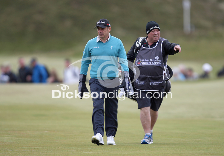 27 May 2015; Paul McGinley feeling the chill<br /> <br /> Dubai Duty Free Irish Open Golf Championship 2015, Pro-Am. Royal County Down Golf Club, Co. Down. Picture credit: John Dickson / DICKSONDIGITAL