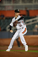Aberdeen IronBirds pitcher Kade Strowd (31) during a NY-Penn League game against the Vermont Lake Monsters on August 19, 2019 at Leidos Field at Ripken Stadium in Aberdeen, Maryland.  Aberdeen defeated Vermont 6-2.  (Mike Janes/Four Seam Images)